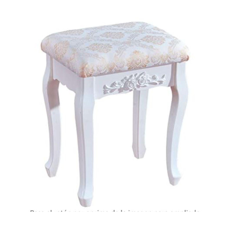 taburete barroco blanco